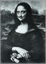 Salvador Dali self-portrait painting as the Mona Lisa