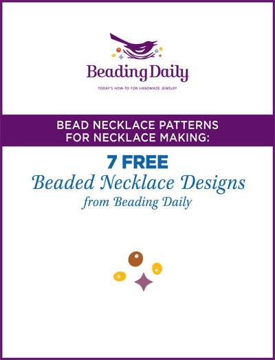 Get 7 free beaded necklace designs when you download this free necklace making tutorial!