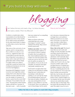 Blogging Tips Article: Adventures in Arting, Blogging