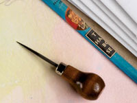 Book making supplies: Awl, image from Pages 2012 issue.