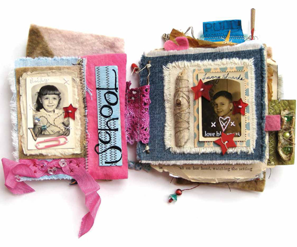 Create handmade paper books using treasures and scraps from your stash.