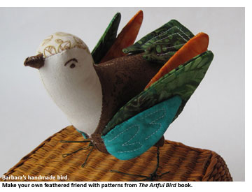 Art by Barbara Delaney. Learn how to make a fabric or felt bird pattern.