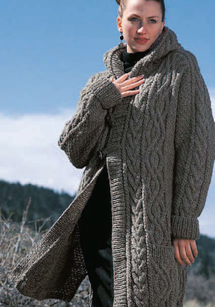 Create this luscious cable knit cardigan coat, free pattern to download.