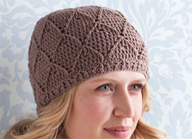 Crochet Beanie Pattern: Diamonds and Lace Hat