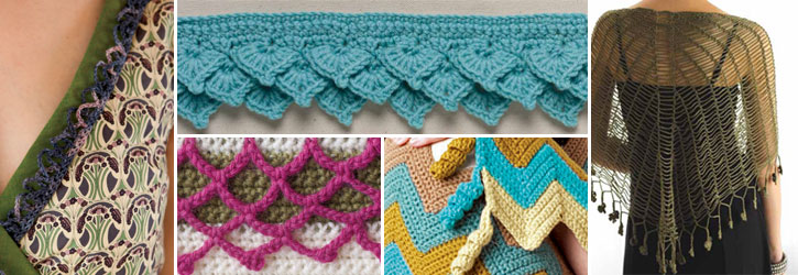 Learn to create each of these with the free crochet border patterns in this eBook