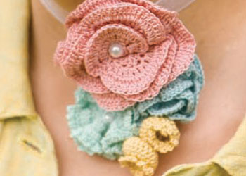 Crochet Flower Patterns: Corsage in Bloom by Christina Potter