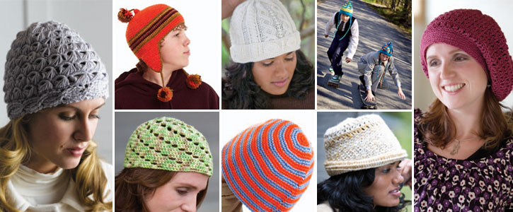 Get all eight of these free crochet patterns, hats, berets and more!