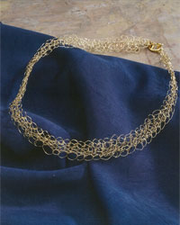 Crochet Bracelet and Crochet Necklace Pattern: Gold Lace Necklace and Bracelet