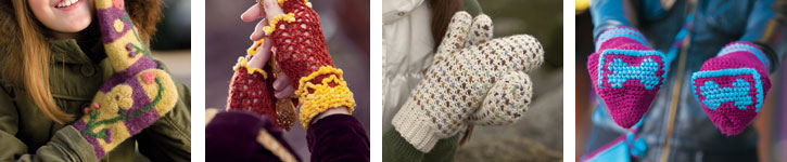 Discover all four unique crochet mittens and gloves patterns.