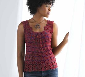 Top Featuring Crochet Square Patterns: Serene Box Pleat Top