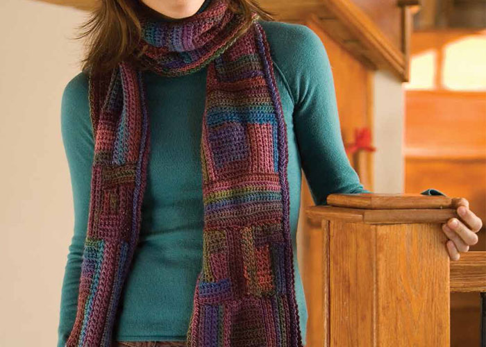Crochet Scarves Patterns: Labyrinth Colorful Scarf by Kristin Omdahl