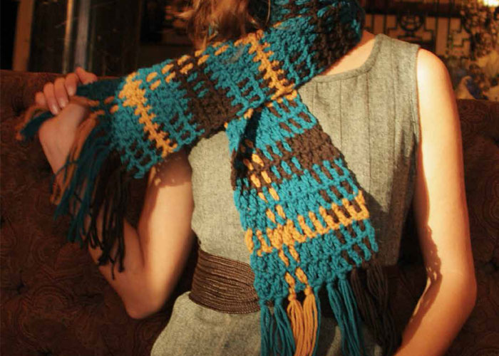 Woven Crochet Scarf: Shades of Plaid by Julie Armstrong