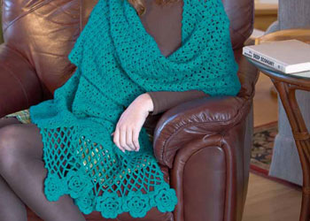 Irish Crochet Shawl Pattern: Flowers for Eryn Wrap