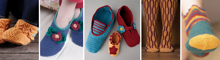 You'll get all of these patterns, two crochet sock patterns and three designs for crocheted slippers, in this wonderful free collection.