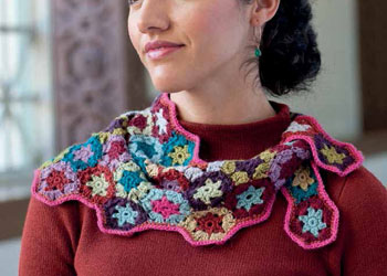 Crocheted Granny Squares Motif: Light-as-Air Neckerchief by Maryse Roudier