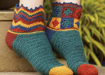 Granny Square Tutorial: Beaux Jestes Socks by Tracy St. John