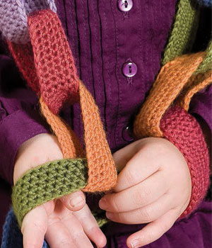 You'll find great Christmas crochet ideas for kids, including this chain scarf.