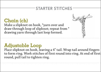 Begin with this first section for lessons on creating a crochet chain stitch, adjustable loop, and foundation stitches.