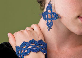 Wedding Crochet Jewelry: Tatiana's Earrings and Cuff by Robyn Chachula