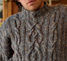 Mens Cable Knit Sweater: Rhapsody in Tweed