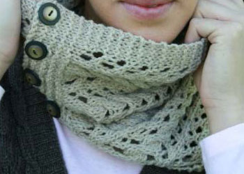 Lace Knitted Cowl Pattern: Gobi Cowl by Marlaina Bird
