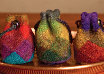 Knitting Entrelac Bags: Felted Entrelac Fobs by Susan Pierce Lawrence