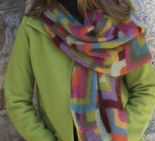 Free Knitting Patterns Scarf: Modern Quilt Wrap
