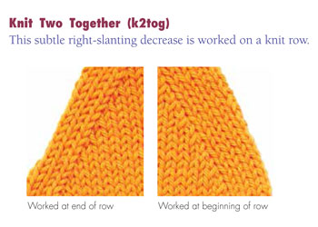 Next, learn how to decrease in knitting, including slip slip knit and knit 2 together decreases.