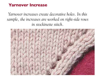 Learn how to increase in knitting including the knitting yarn over increase.