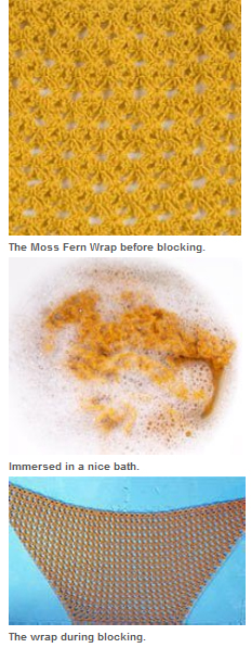 An immersion wet blocking knitting example. Using blocking wires for knitting makes blocking this wrap even quicker.