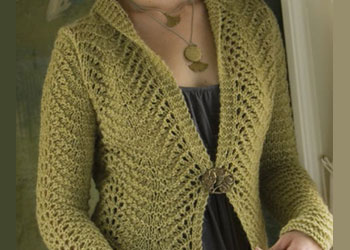 Lace Knitting Pattern: Tailored Scallops Cardigan by Pam Allen