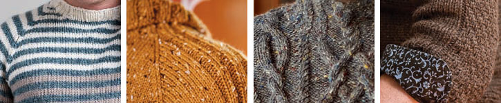 Find mens knitting patterns for each of these sweaters in this free eBook.