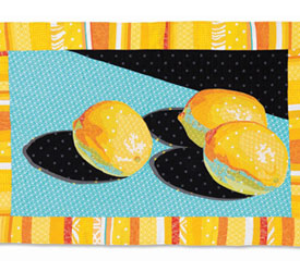 Art Quilt Wall Hangings: Three Lemons Art Quilt