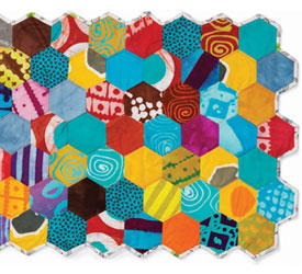 Fabric Wall Hanging Quilt: Mini Hexagon Quilt