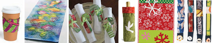 Grab all six free handmade gift ideas including a holiday/Christmas table runner, bracelets, coffee sleeve and more.