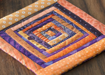 Block Quilt Coasters: Scrappy Log Cabin Coasters by Kathryn Morrison
