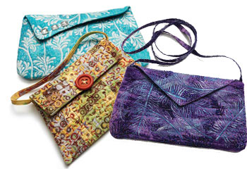 Quilted Handbags: Classic Evening Bags (blue, yellow and purple) by Susan Brubaker Knapp