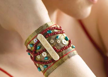Bead Handwork Cuff: Beaded Fabric Cuff by Tricia Waddell