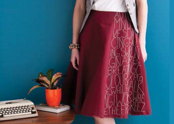 Hand Stitching on Skirt: Poetry Skirt by Katrin Vorbeck