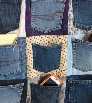 Project to upcycling jeans into a hallway catch-all