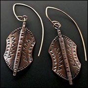 Tribal Shield Copper Earrings
