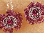 Chevron-netted and peyote stitched beaded blooms