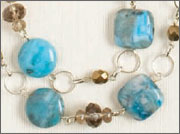 Wire-wrapped semiprecious stone and chain