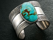 Stamped Metal Cuff with Turquoise
