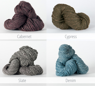 Dauphine Knitted Hat Kit in Cabernet, Cypress, Slate, and Denim