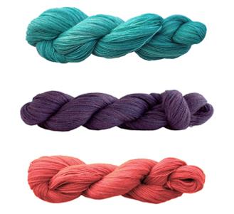 Nereid Knitted Lace Shawl Kits in Alvina Aqua, Baku or Rosetta Pink
