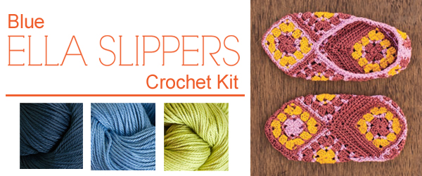 Blue Ella Slippers Crochet Kit