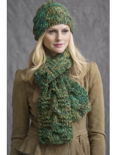 Trailways Cabled Scarf & Hat in Calypso