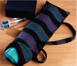 Handwoven yoga mat carrier by Sue Bleiweiss