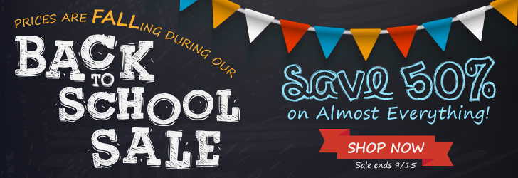 Back to School Fall Sale Save 50%
